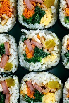 Korean Dishes, Korean Food, Korean Egg Roll, Seaweed Wrap, Bar Restaurant Design, Canned Meat, Design Café, Bulgogi, How To Cook Eggs