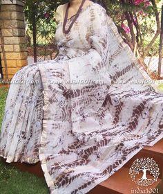 Elegant Kota Cotton Saree with Bandhani & Shibori work