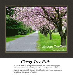 Cherry Tree Path, Alluring Landscape Counted Cross Stitch Pattern, Landscapes, Landscape and Nature Counted Cross Stitch Pattern #crossstitchonpinterest #landscapecrossstitch