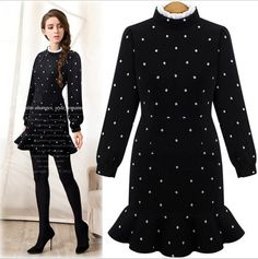2016 Autumn Fashion Fishtail Flounced Polka Dot Dress Slim Was Thin Stand Collar Long Sleeve Dress Short Dresses Vestidos  BF416-in Dresses from Women's Clothing & Accessories on Aliexpress.com | Alibaba Group