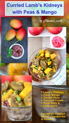 Bright, vibrant and unusual. Peas & ripe mango goes well with sautéed kidneys and mild, creamy curry with coconut cream, turmeric and lime juice. Cream Roses, Coconut Cream, Lime Juice, Turmeric, Lamb, Mango, Curry, Vibrant, Manga