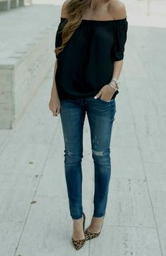 Want to infuse your wardrobe with some casual chic? Rock a black off shoulder top with blue ripped skinny jeans. If you want to feel a bit sleeker now, complete your getup with brown leopard suede pumps. Heels Outfits, Casual Outfits, Cute Outfits, Fashion Mode, Look Fashion, Womens Fashion, Mode Style, Style Me, Casual Chique