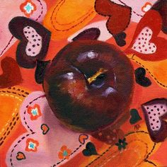 Love That Plum, Valentines Day Art, Still Life Fruit Painting by Marina Petro, painting by artist Marina Petro