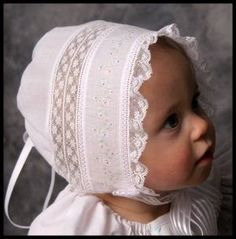 """""""Lauren""""-a Baby Heirloom Cap by Sara Norris Pattern to buy. Baby Patterns, Sewing Patterns, Skirt Patterns, Coat Patterns, Blouse Patterns, Baby Bonnets, Christening Gowns, Heirloom Sewing, Baby Kind"""