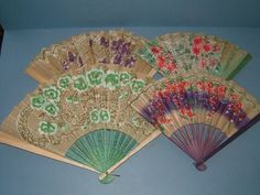 Four Vintage Hand Held Paper Fans  Made in by BiminiCricket, $45.00