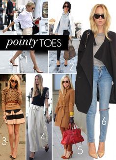 Pointy toes shoes always make your ankles look slimmer and your legs longer and they look great with all styles of jeans. I have many pairs of mid-height pointy toe shoes. I make a point (get it?) to look for them when I'm out shopping and I stash them away in my Pointy Toe shoe closet. I really don't have a pointy toe closet.  Sincerely, JoAnne Craft