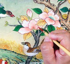 이문성 작가와 함께하는 궁중화조도 그리기 Ⅲ | 월간민화 Traditional Paintings, Traditional Art, Miniatures, Asian, Illustration, Pictures, Crafts, Japanese Art, Dragons