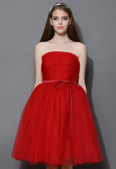 Endless Red Tulle Bustier Mesh Prom Dress - Dress - Retro, Indie and Unique Fashion