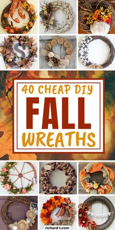 40 Cheap & easy DIY Fall wreaths to bring the Fall spirit into your home! These Fall wreaths are simple, cheap and look AMAZING! Easy Fall Wreaths, Diy Fall Wreath, Wreath Crafts, Fall Diy, How To Make Wreaths, Holiday Wreaths, Winter Wreaths, Spring Wreaths, Crafts To Make And Sell