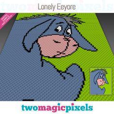 Lonely Eeyore by Two Magic Pixels Pixel Crochet, C2c Crochet, Manta Crochet, Crochet Afghans, Crochet Flower Patterns, Afghan Crochet Patterns, Crochet Disney, Crochet For Beginners Blanket, Kids Blankets