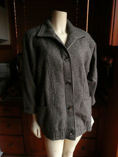 Vintage 80s Ferncroft Houndstooth Plaid Wool Jacket Coat S 4 on Etsy, $49.90