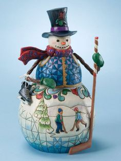 """""""Winter Cheer Is The Goal"""" Snowman With Ice Skating Scene.  Too Cute!"""
