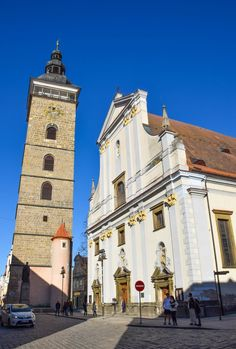 "St Nicholas Cathedral & Black Tower - České Budějovice, Czech Republic - Also known simply as ""Budweis,"" this charming town situated between Prague & Cesky Krumlov is the largest town in South Bohemia (and blissfully off the tourist radar).    #ceskebudejovice #travel #czechrepublic #smalltowns #europe #traveldestinations"