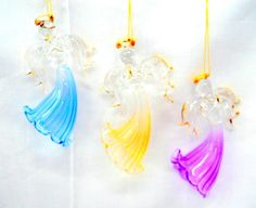 Glass Angels Christmas Ornaments Set of 3 New Flying Holiday Hanging Praying