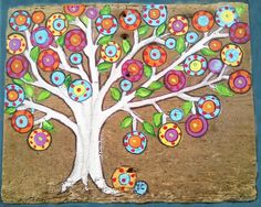 """Tree of life  Happy Tree Mexican Folk Art  Penny Tree,  original painting on Weathered upcycled wood, 9x9"""" by icColors on Etsy"""