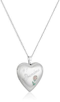 Sterling Silver 'Grandma' and Rose Heart Locket Pendant Necklace, 18' * More info could be found at the image url.