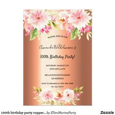 Shop birthday party copper metallic pink florals invitation created by EllenMariesParty. 30th Birthday Party For Her, 70th Birthday Card, Sweet 16 Birthday, 16th Birthday, Pink Invitations, Floral Invitation, Birthday Invitations, Metallic Pink, Dahlia