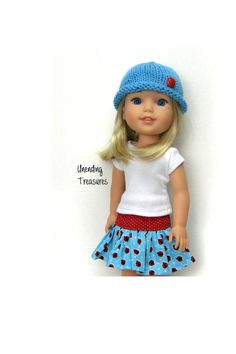 14 inch doll clothes AG doll clothes white top ladybug ruffle skirt and turquoise hat made to fit like Wellie Wishers doll clothes