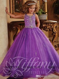 2015 Glitz Pageant Dresses for Little Girls Crystal Organza Lace Up Toddler Pageant Dresses Flower Girls Purple Ball Gown Kids Formal Wear