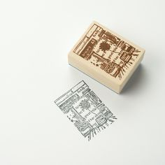 Chamil Garden Wood Rubber Stamp - SCENE D1 by niconecozakkaya on Etsy