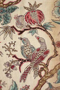 AISH  Antique mid 19th century , Block printed French fabric ~ lovely bird motif , Arborescent design ~ timeworn