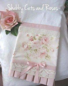 Discover thousands of images about Roses, lace & bows hand towel Dish Towels, Hand Towels, Tea Towels, Fabric Crafts, Sewing Crafts, Rose Vintage, Craft Projects, Sewing Projects, Diy Couture