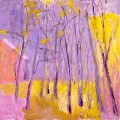 Wolf Kahn - Landscape in pink yellow and gray