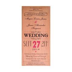 Original Classic: 100mm x 210mm Birch or Mahogany. Printed $8.00 per invitation. Engraved in Birch or Mahogany, $12.90 per invitation. Engraved in Jarrah, $17.90 per invitation.