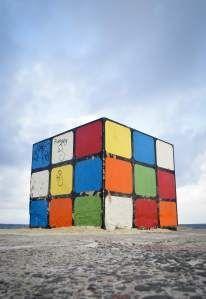 Rubik's sculpture at Maroubra beach, Australia