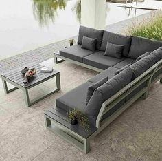 Create the ultimate chill out zone in your garden and enjoy summer living with the LIFE Mallorca Corner Lounge Set Iron Furniture, Sofa Furniture, Pallet Furniture, Furniture Design, Industrial Design Furniture, Living Room Sofa Design, Living Room Designs, Pool Patio Furniture, Wooden Sofa Set Designs