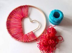 Handmade Pride - DIY dream catcher with heart made of yarn and stick ring. - - Handmade Pride – DIY dream catcher with heart made of yarn and stick ring. Kids Crafts, Cute Crafts, Diy And Crafts, Arts And Crafts, Twig Crafts, Simple Crafts, Easy Yarn Crafts, Fun Crafts To Do, Heart Crafts