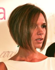 stacked bob haircut pictures | Victoria Beckham Longer in the front bob with a stacked nape