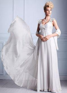 Applique V Neck Chiffon White Evening Dress