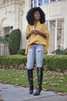 Oversized Poncho Knit + Distressed Jeans