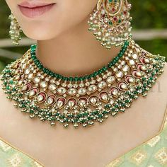 Indian Bridal Jewelry Sets Brides Jewels 63 Ideas For 2019 Bridal Necklace, Necklace Set, Kundan Jewellery Set, Gold Jewelry, Kundan Set, Temple Jewellery, Antique Jewellery, Indian Bridal Jewelry Sets, Wedding Jewelry Sets