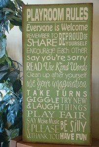 Playroom Rules Subway/Typography Word Art Sign by kshopa on Etsy, $75.00