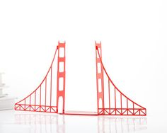 Metal bookends Golden Gate Bridge. Metal book holders inspired by the iconic construction of 1937. Functional decor for modern home. Free