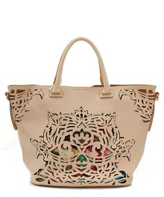 $48.00  Lazer cut bag in beige or white, with removable flower bag.