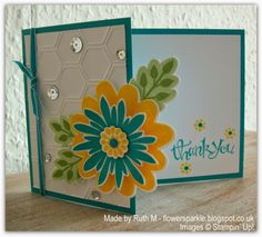 Flower Sparkle: Flower Over the Edge Thank You Card - CASEd from Mikaela Titheredge