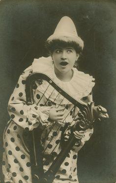 Pierrot Girl with Lyre RPPC