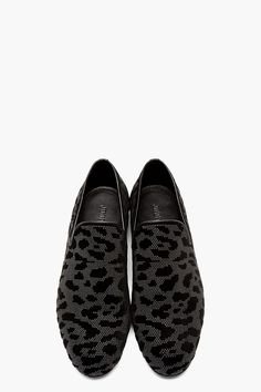 JIMMY CHOO Grey & Black Textured Leopard Loafers