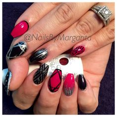 Coffin/Ballerina Sculpted Acrylic Nails. Pink/Black Nail Design for Fall 2014 @NailsByMargarita
