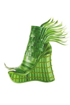 20 Of The Weirdest Shoes, Ever #refinery29  http://www.refinery29.com/20-of-the-weirdest-footwear-we-could-find#slide-20  Plant Wedge—Shoes you'll want to wear out in the rain.  Woven Plant Shoe,, image via Refinery29....