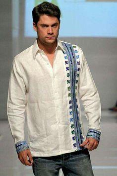 Camisas de hombre Chinese Shirt, Mexican Fashion, Kurta Designs, Refashion, Look, Cool Outfits, Bomber Jacket, Menswear, Mens Fashion
