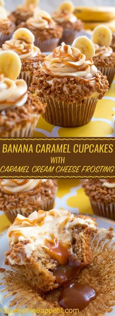 Banana Caramel Cupcakes are moist, fluffy, tender and have the most perfect banana flavour! Filled with homemade caramel sauce, rolled in toffee bits and topped with Caramel Cream Cheese Frosting — these cupcakes will have your taste buds going crazy! Brownie Desserts, No Bake Desserts, Just Desserts, Delicious Desserts, Health Desserts, Bon Dessert, Oreo Dessert, Banana Dessert Recipes, Food Cakes