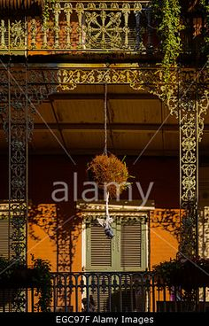 Iron lace balconies in Royal street, New Orleans Stock Photo
