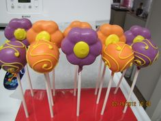 Flowers in bloom - ready for Spring - cake pops made with pink lemonade cake on the inside