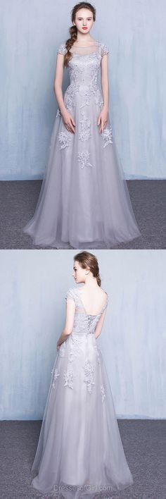 Princess Prom Dress, Long Prom Dresses, Tulle Evening Gowns, Low Back Party Dresses, Silver Formal Dresses