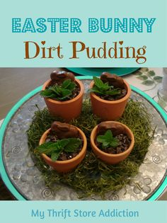 Simple recipe for dirt pudding garnished with a chocolate bunny and served in a tiny flower pot for Easter dessert