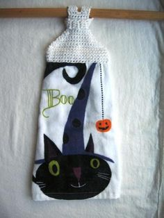 Boo Kitty Towel by mimiandcolette for $5.50